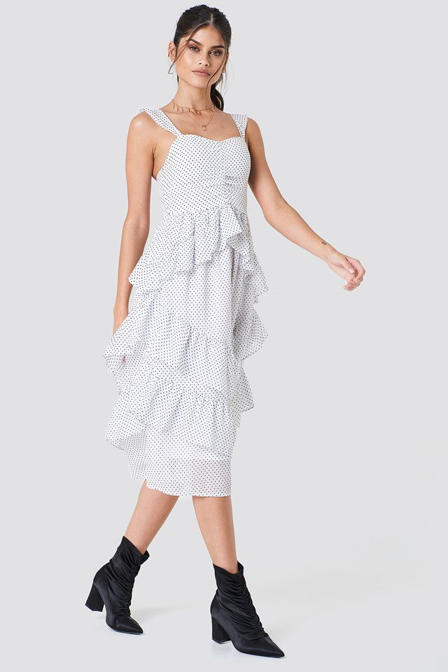 Front Gathering Frill Chiffon Dress White/Black Dot