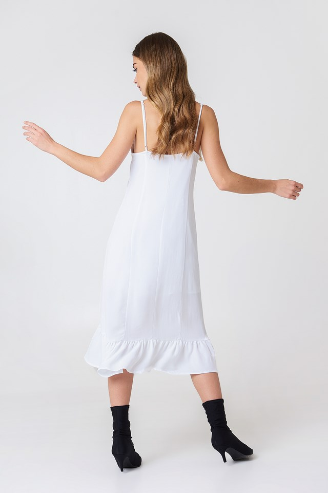 Front Gathering Midi Dress White