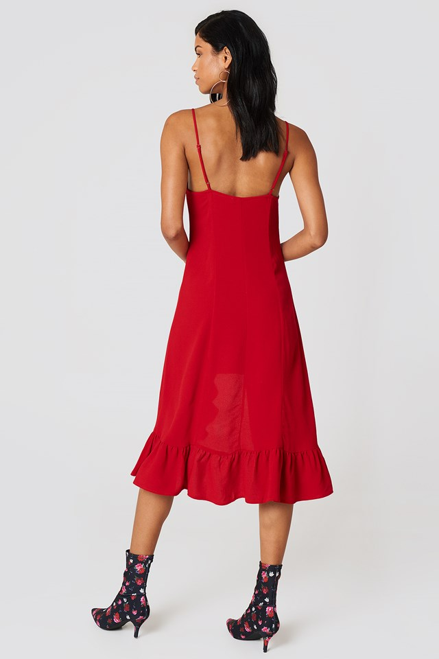 Front Gathering Midi Dress Red