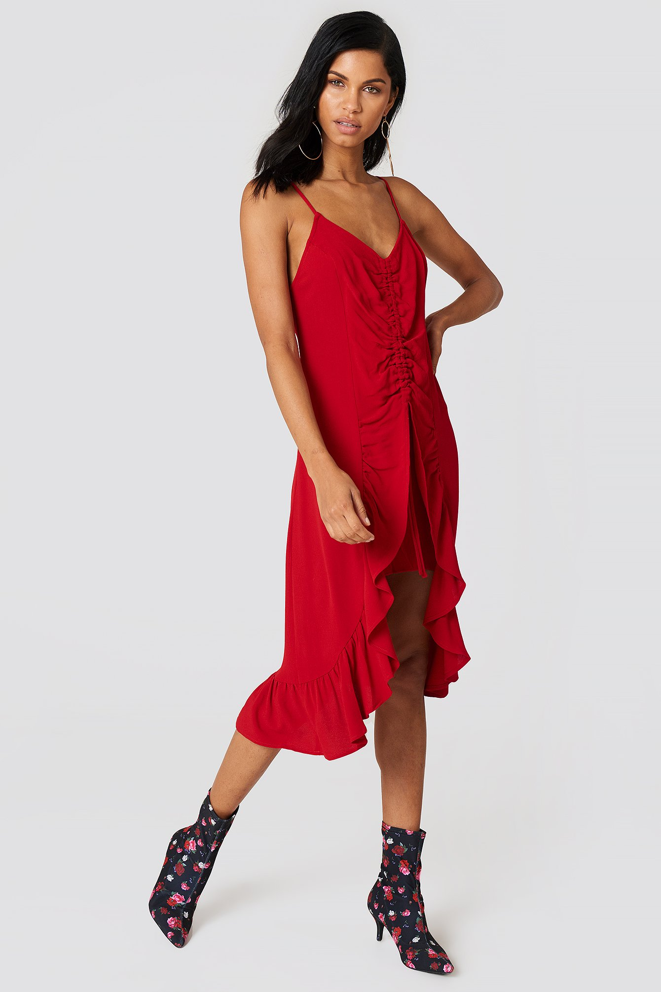 Red Front Gathering Midi Dress