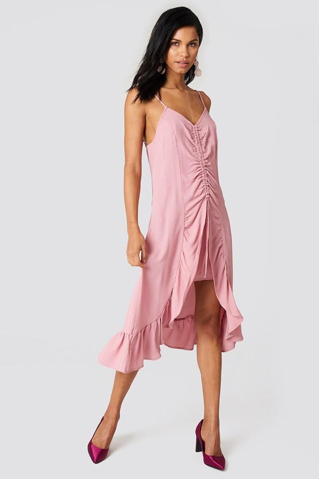 Front Gathering Midi Dress Dusty Pink