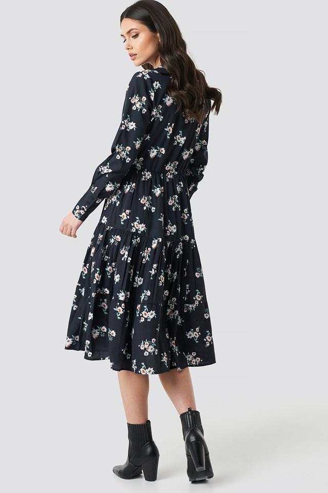 Front Keyhole Flounce Midi Dress Black Flower Print