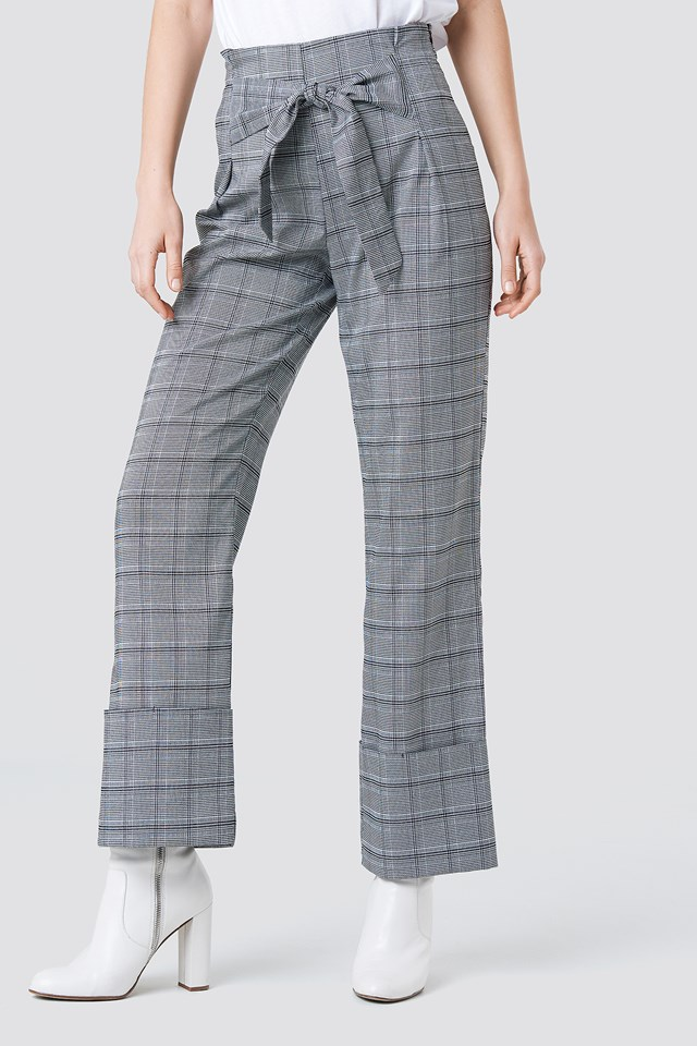 Front Knot Detail Flared Pants Checkered