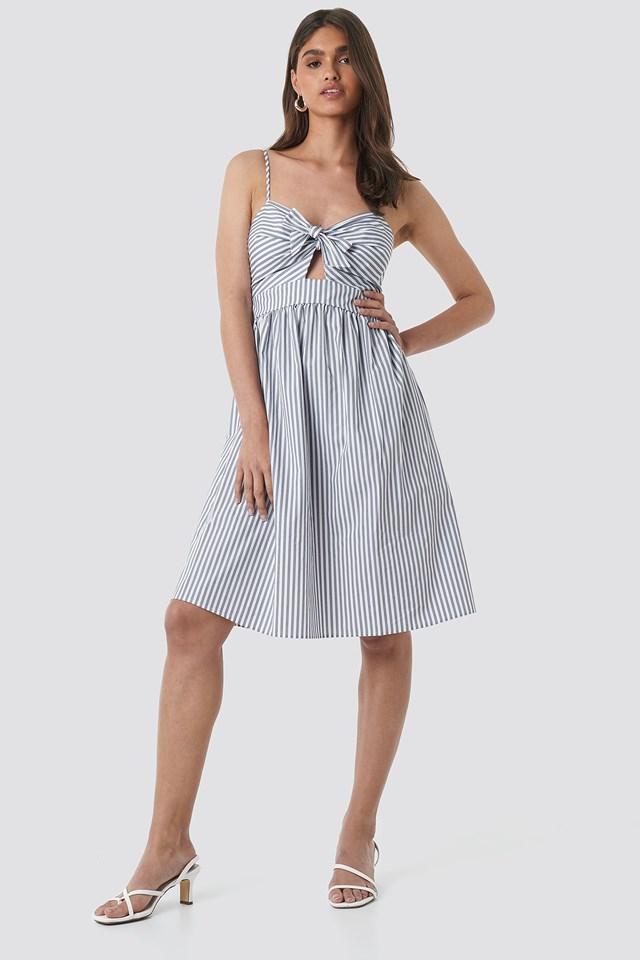 Front Knot Midi Dress White/Grey