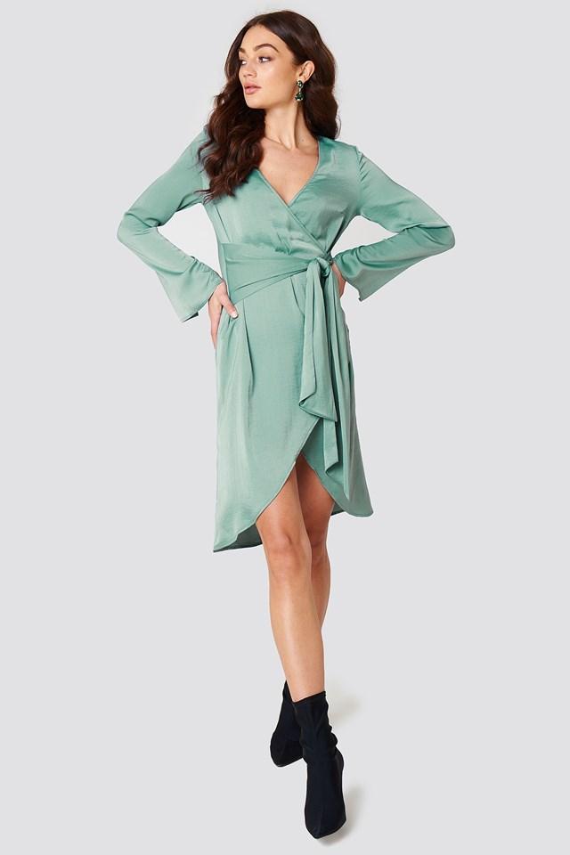 Sukienka kopertowa z wiązaniem z przodu Duck Green