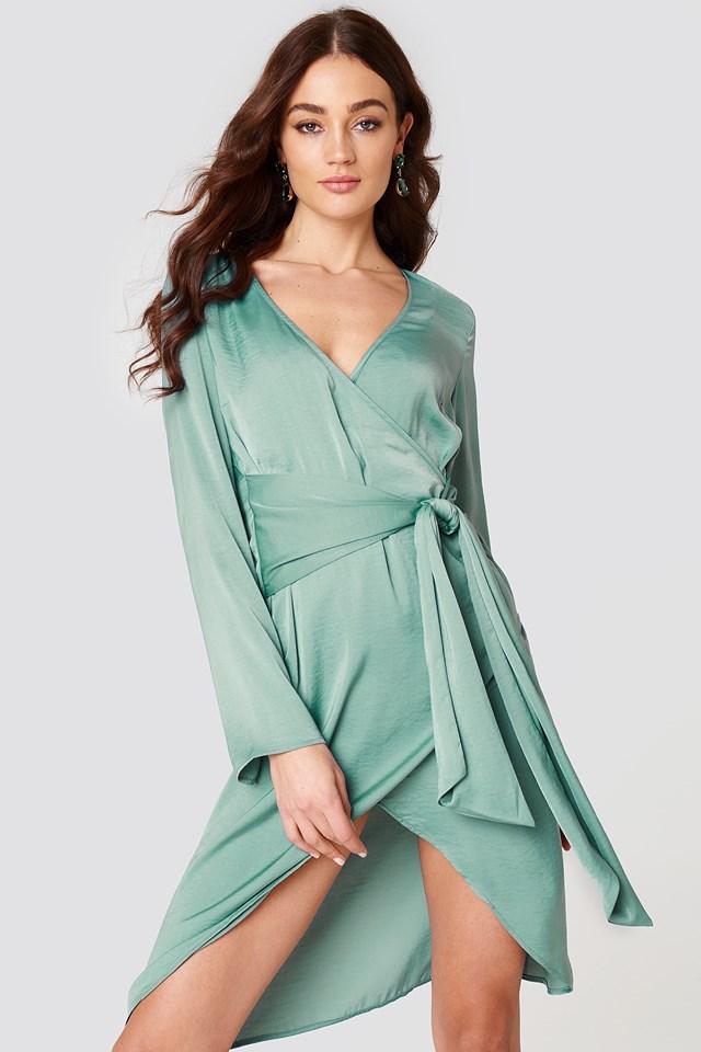 Front Knot Overlap Dress Duck Green