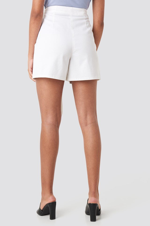 Front Knot Shorts White