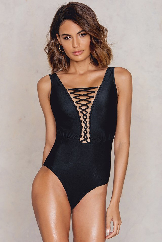 Front Lacing Swimsuit Black