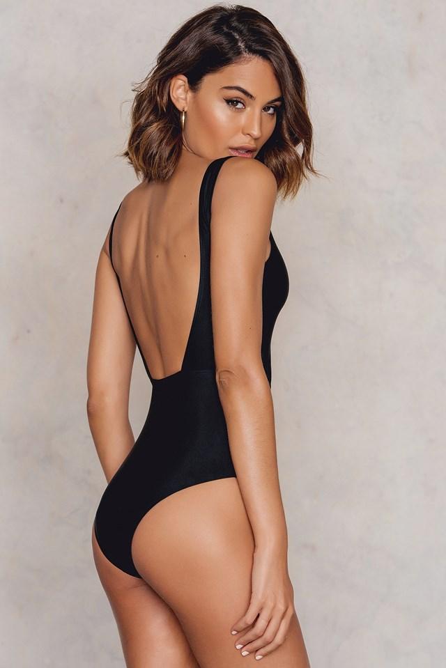 Front Lacing Swimsuit Black