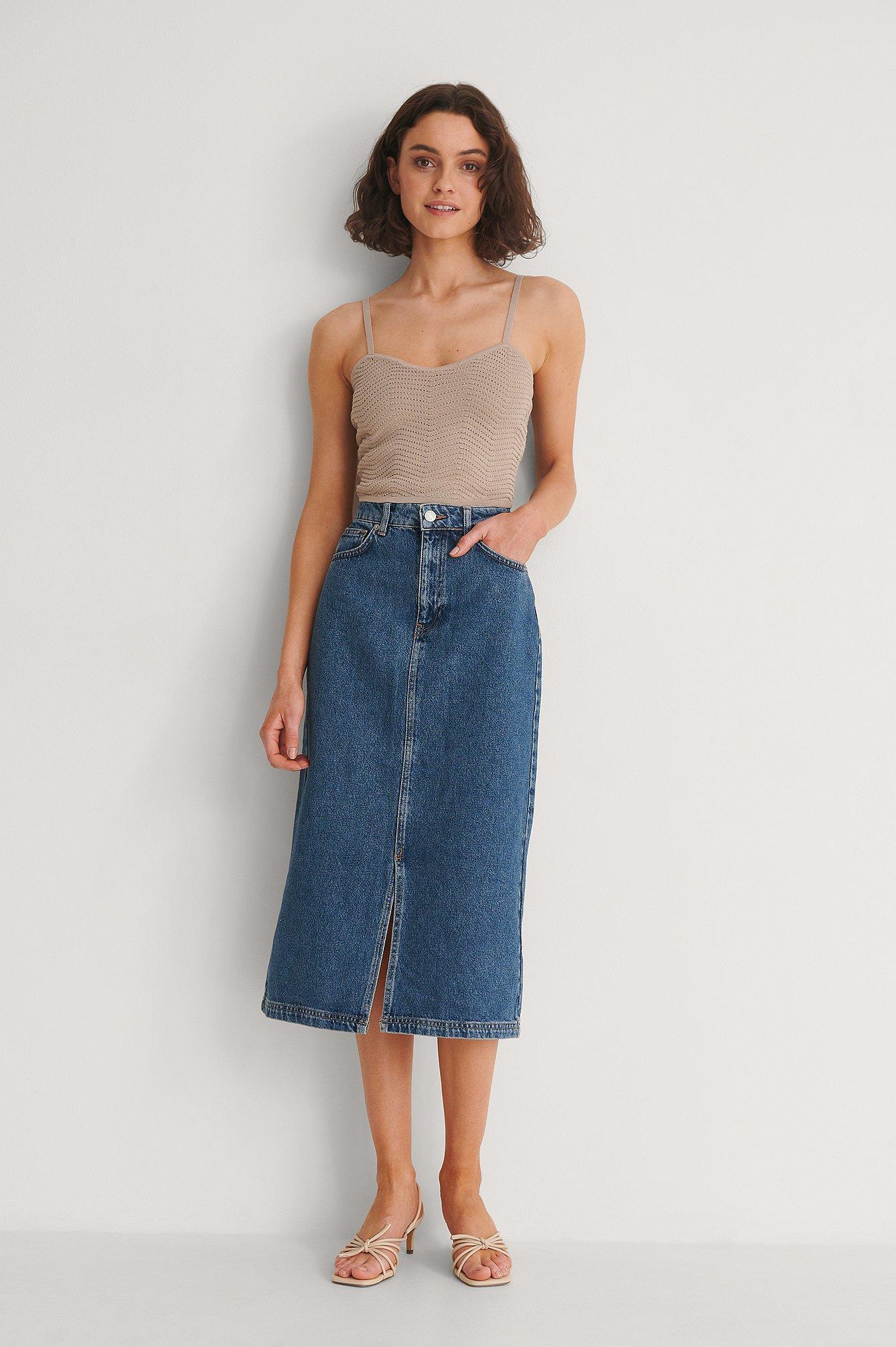 Na-kd Organic Front Slit Midi Denim Skirt - Blue