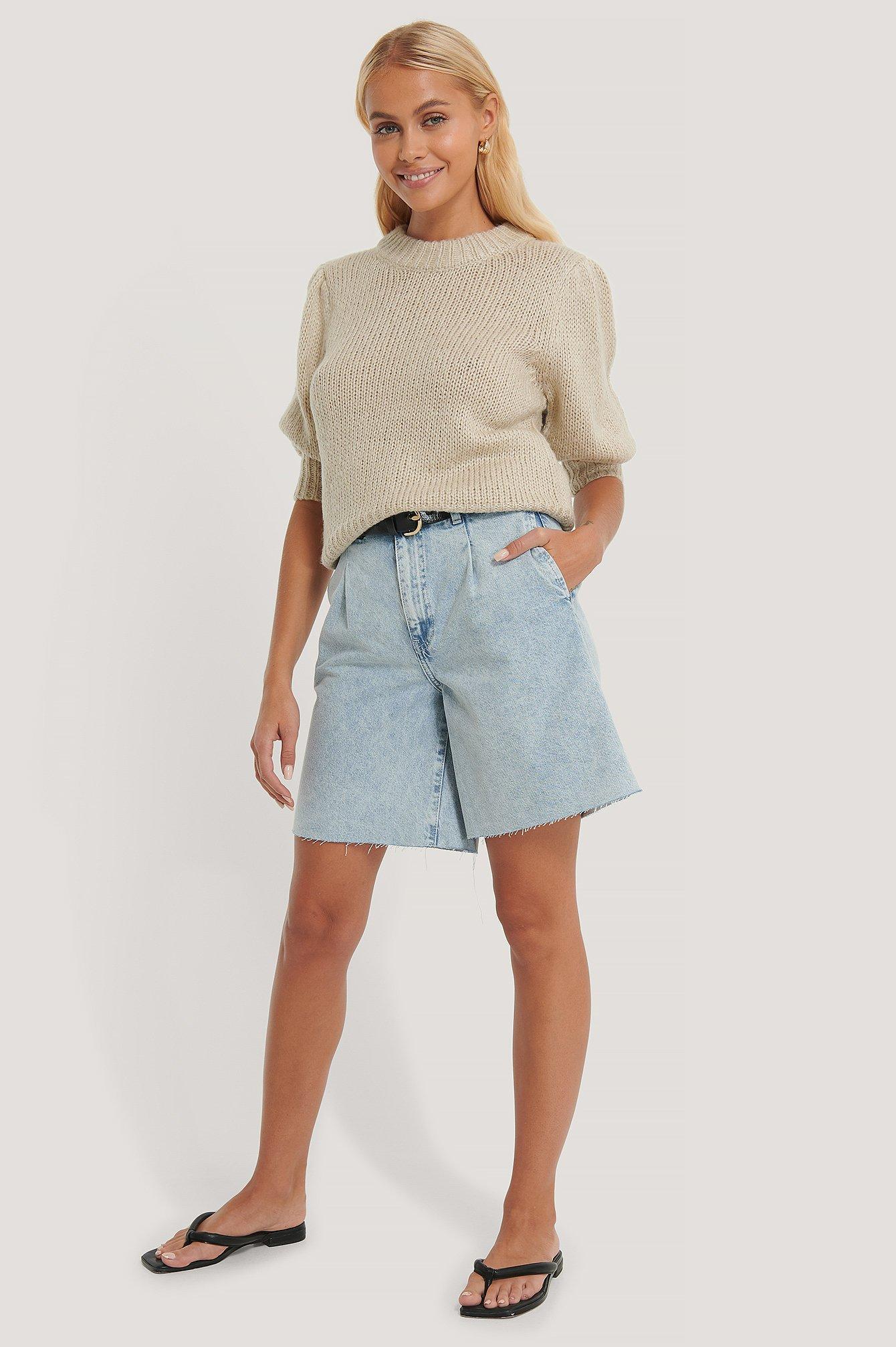 na-kd trend -  Bermuda-Shorts Mit Falte Vorne - Blue