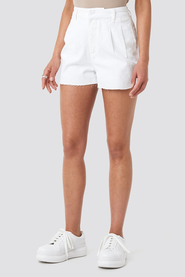 Front Pleat Denim Shorts White
