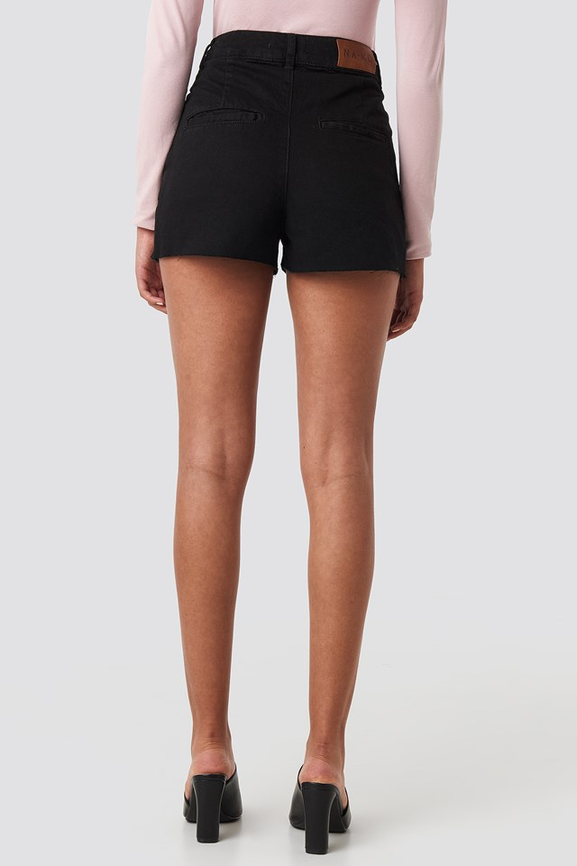 Front Pleat Denim Shorts Black