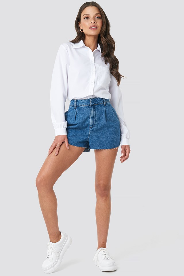 Front Pleat Denim Shorts Mid Blue
