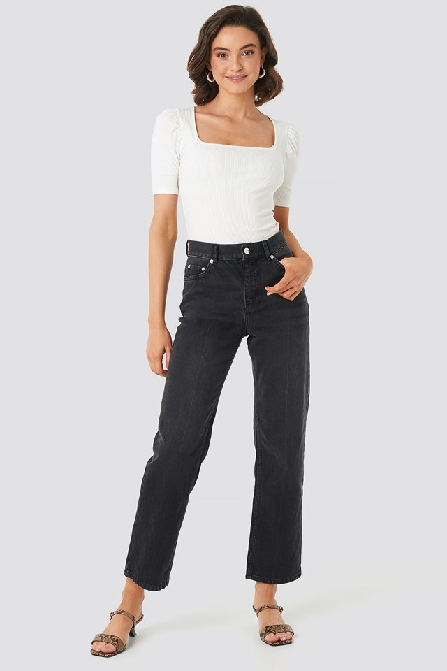 Front Pleat Jeans Black