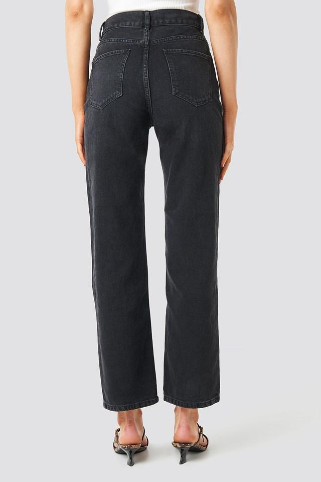 Front Pleat Jeans Black