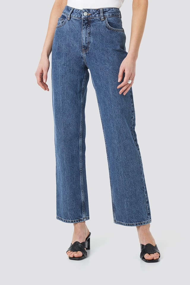 Front Pleat Jeans Light Blue
