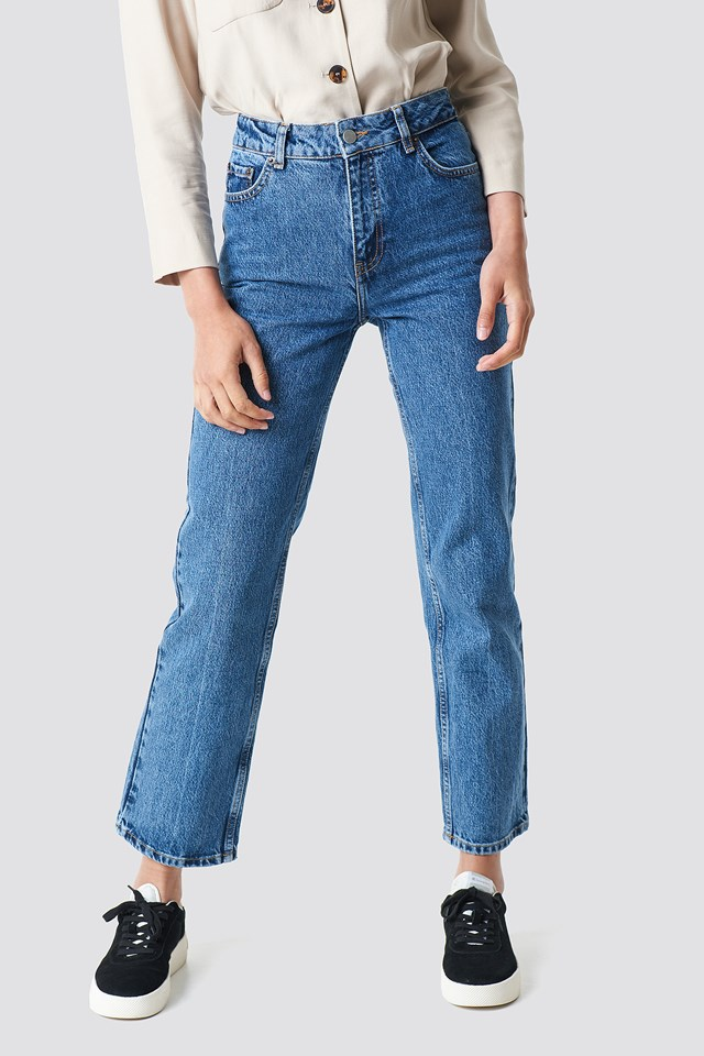 Front Pleat Jeans Mid Blue