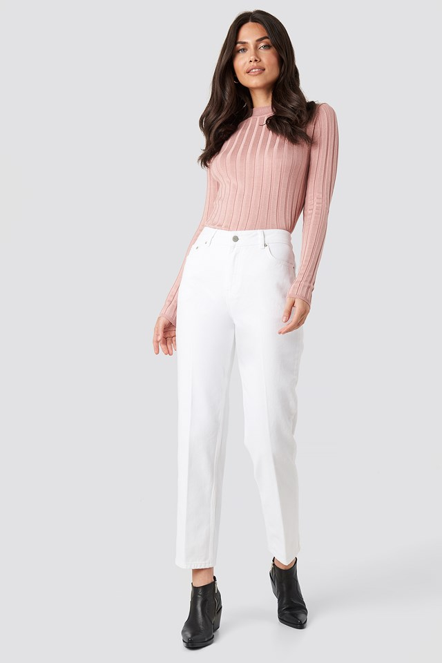 Front Pleat Jeans Offwhite