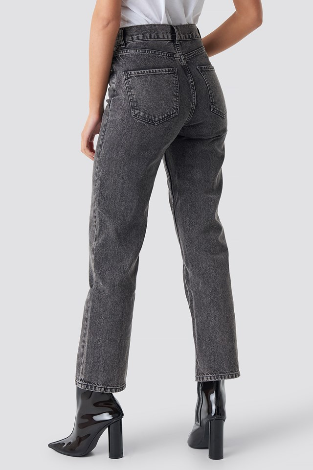 Front Pleat Jeans Black Stone Wash