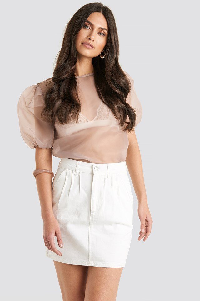 Front Pleat Short Denim Skirt White