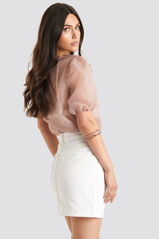 Front Pleat Short Denim Skirt White
