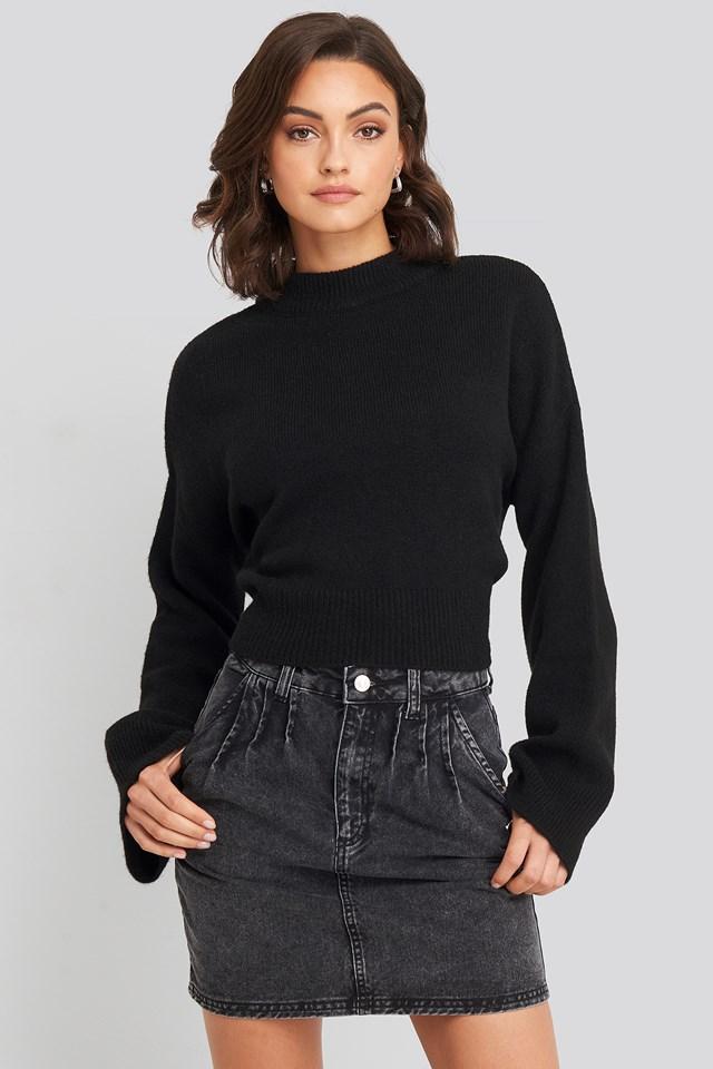 Front Pleat Short Denim Skirt Black