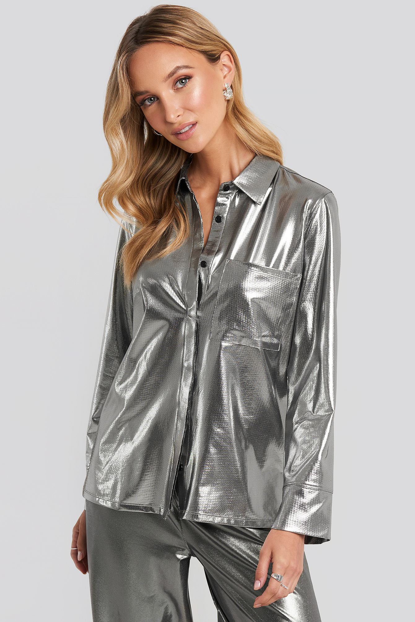 na-kd party -  Front Pocket Button Up Shirt - Silver