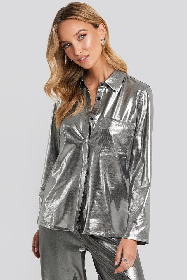 Front Pocket Button Up Shirt Silver