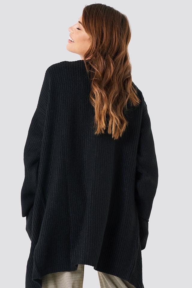 Front Pocket Knitted Cardigan Black