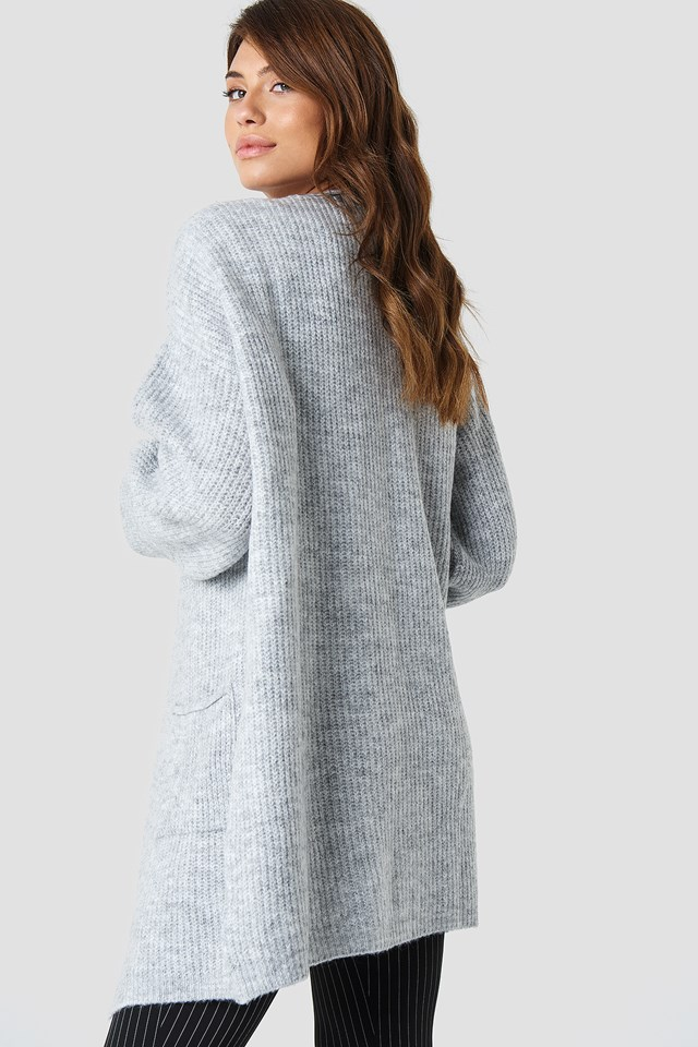Front Pocket Knitted Cardigan Grey
