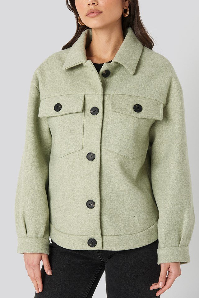 Front Pocket Oversized Jacket Green