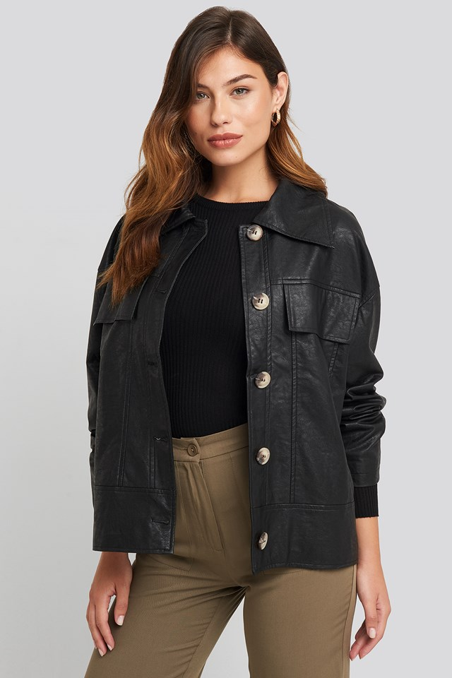 Front Pocket Pu Jacket Black