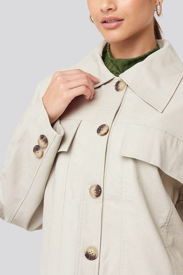 Front Pocket Pu Jacket Offwhite