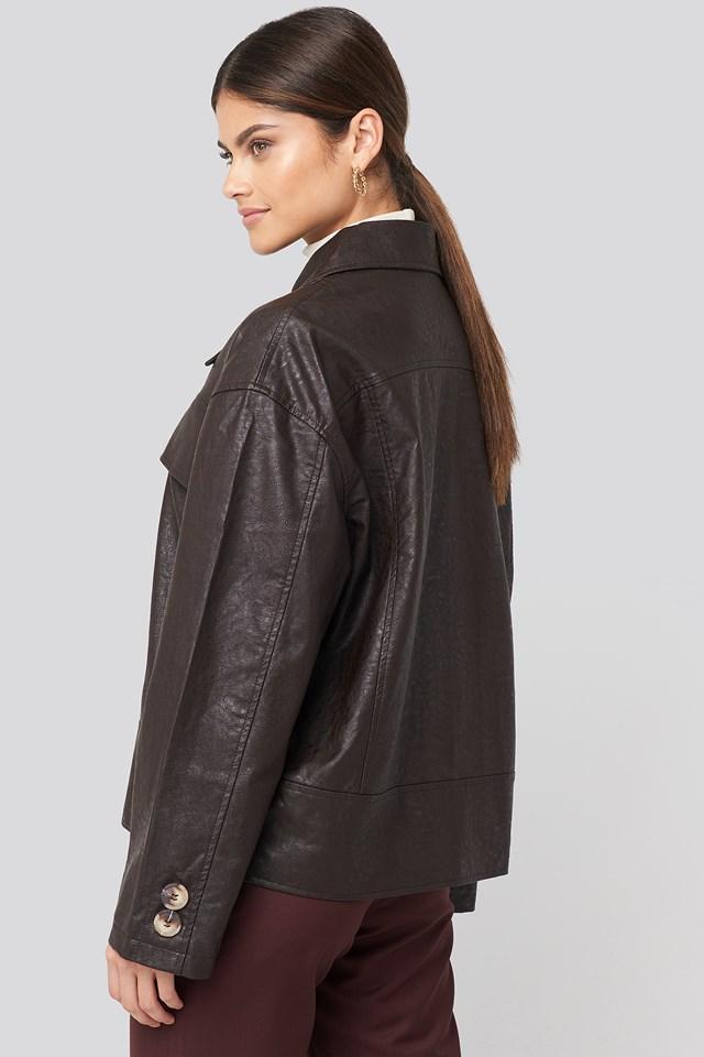Front Pocket Pu Jacket Dark Brown