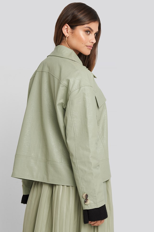 Front Pocket Pu Jacket Pastel Green