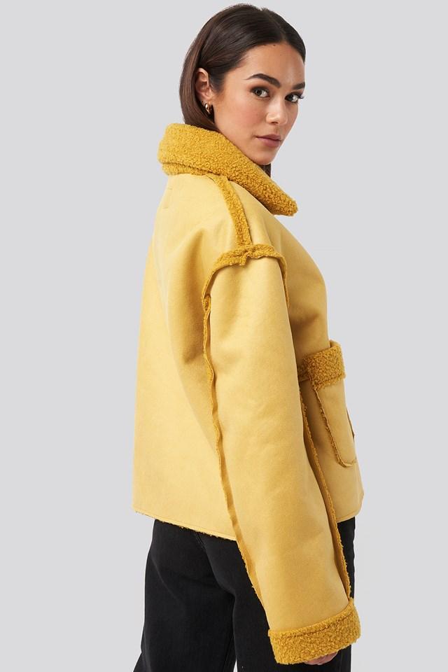 Front Pocket Teddy Jacket Yellow