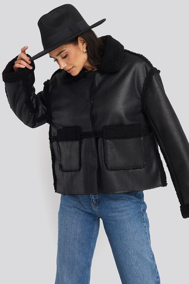 Front Pocket Teddy Jacket Black