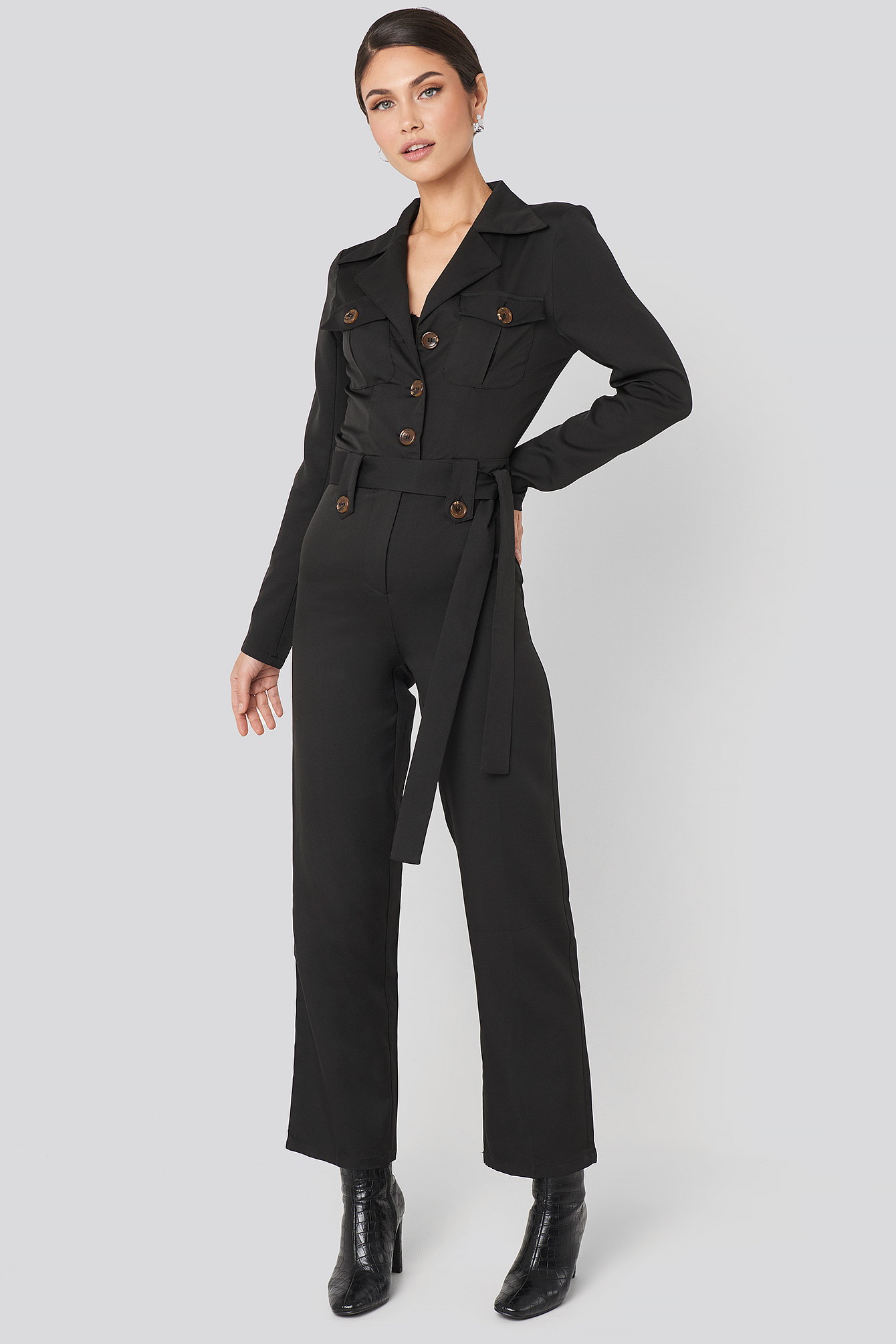 Front Pocket Tied Waist Jumpsuit Noir by Na Kd Trend