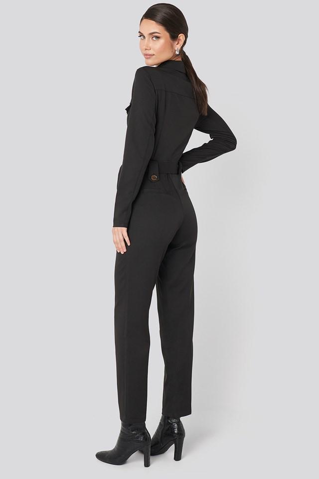 Front Pocket Tied Waist Jumpsuit Black