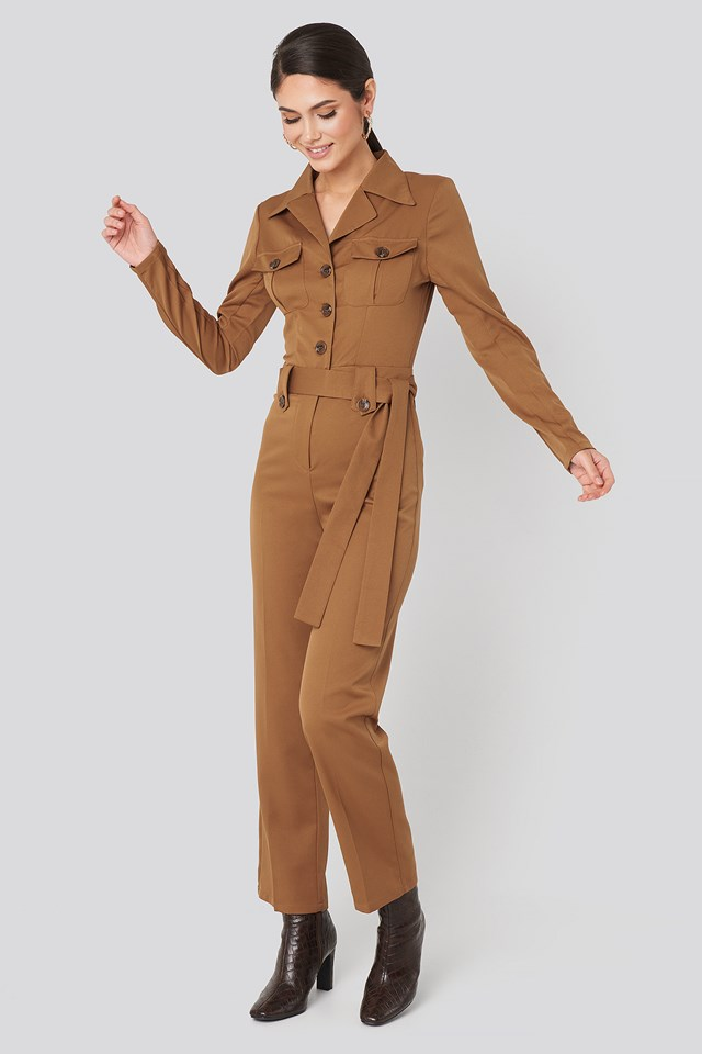 Front Pocket Tied Waist Jumpsuit Brown