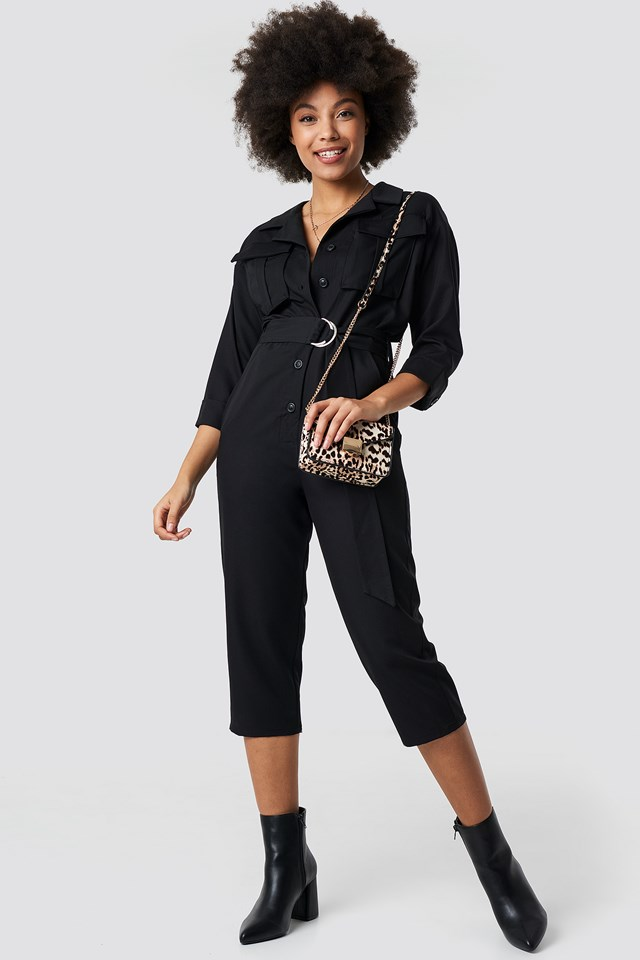 Front Pockets Belted Jumpsuit Black