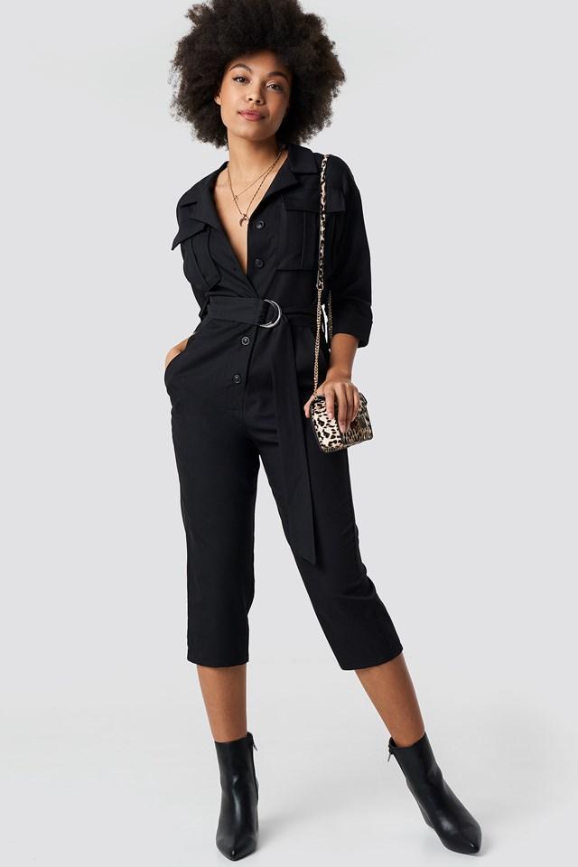 Front Pockets Belted Jumpsuit Black