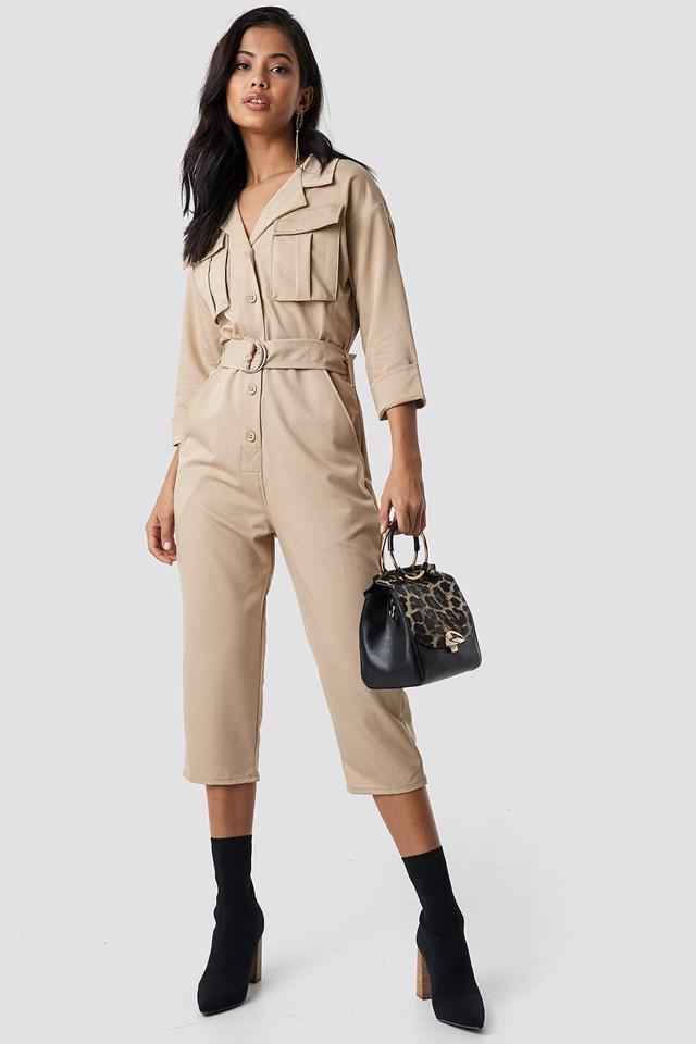 Front Pockets Belted Jumpsuit Beige