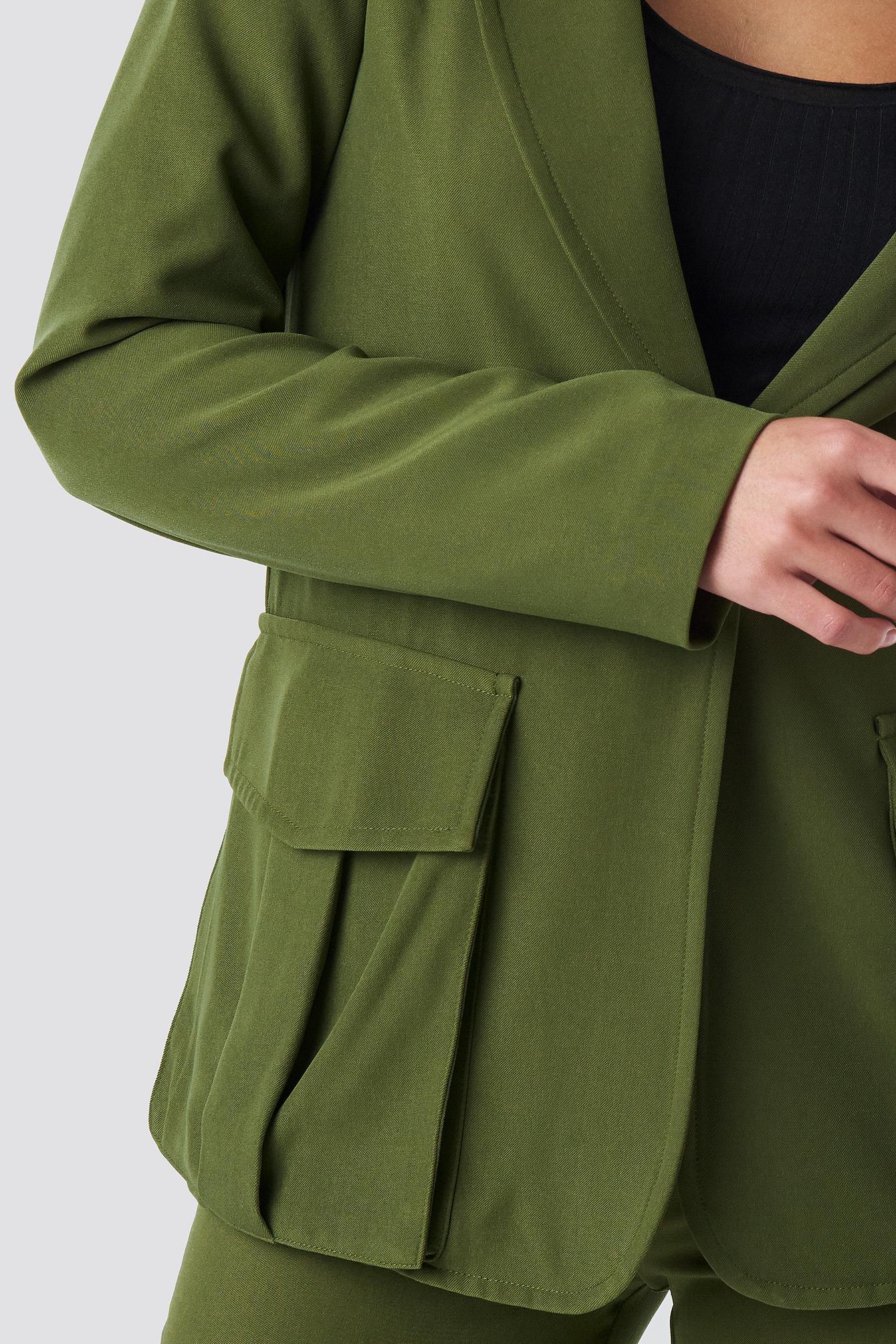 Front Pockets Single Button Blazer NA-KD.COM