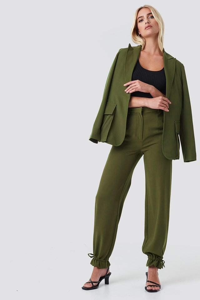Front Pockets Single Button Blazer Khaki Green