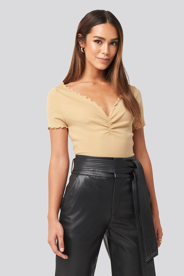 Front Ruched Babylock Top Beige