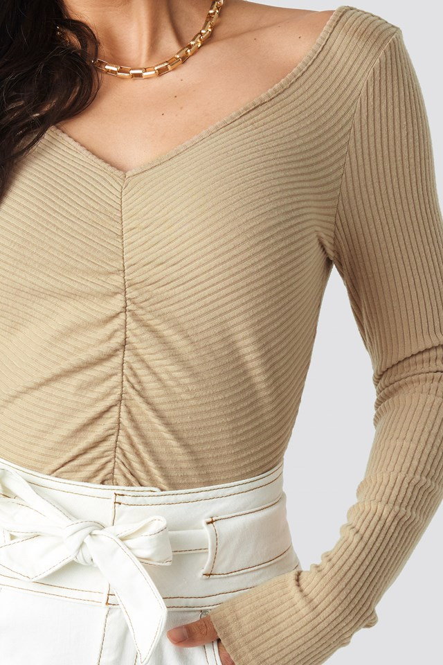 Front Ruched Cropped Top Light Beige