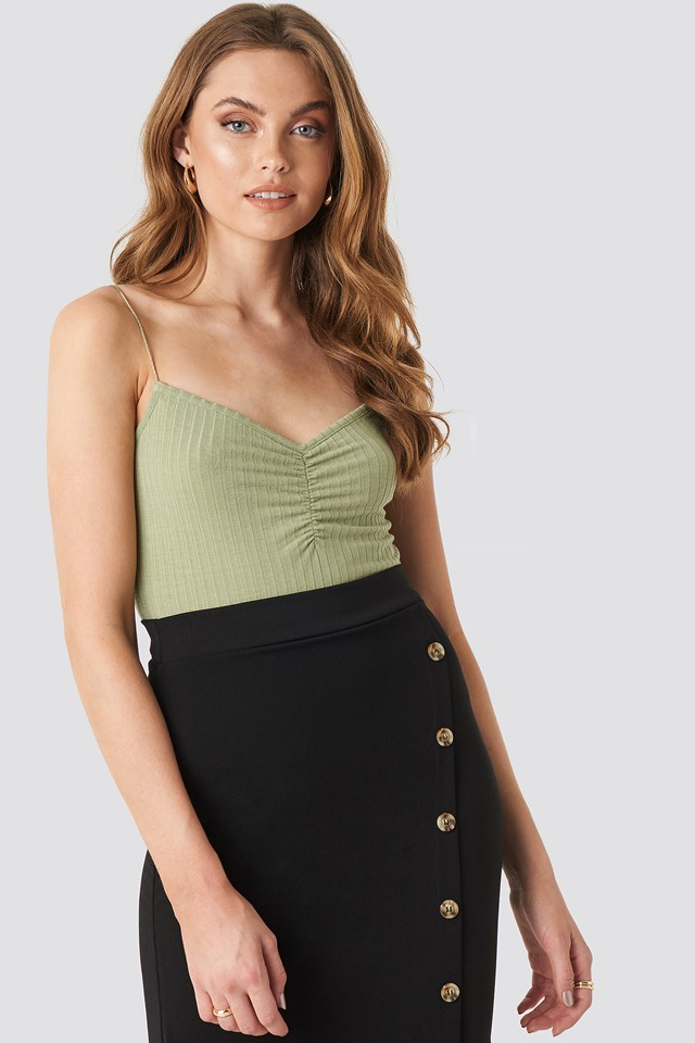 Front Ruched Ribbed Singlet Light Khaki