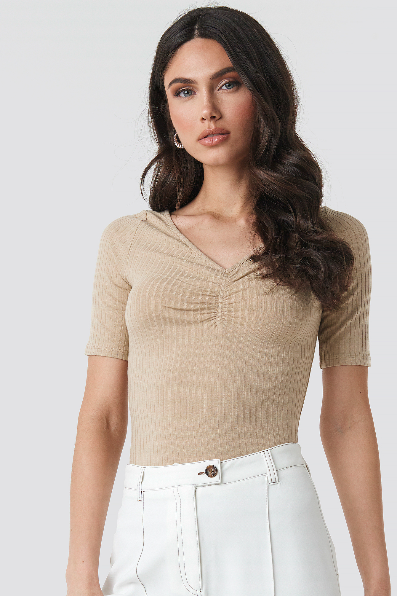 Front Ruched Short Sleeve Top NA-KD.COM